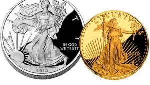 Goud en zilver eagle